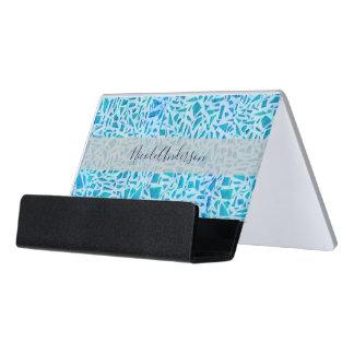 Blue Turquoise Mosaic Glass Tile Modern Chic Desk Business Card Holder