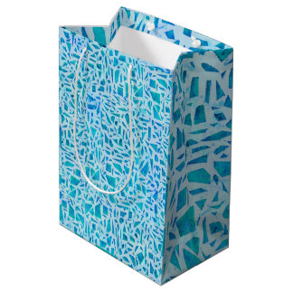 Blue Turquoise Mosaic Glass Tile Modern Chic Medium Gift Bag