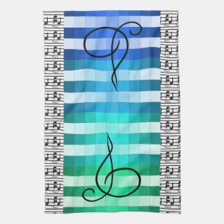 Blue Turquoise Musical Music Musician Kitchen Gift Tea Towel