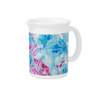 Blue Turquoise Pink Abstract Flowers Pitcher