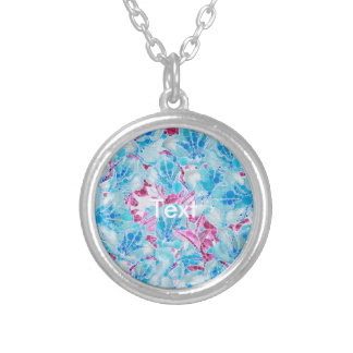 Blue Turquoise Pink Abstract Flowers Round Pendant Necklace