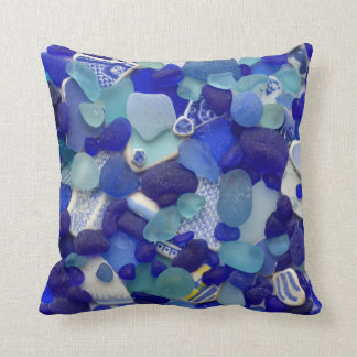 Blue turquoise sea glass beach glass photo square throw pillow
