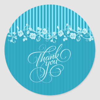 Blue & Turquoise Stripes & Floral Lace Thank You Round Sticker