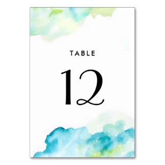 Blue Turquoise Watercolor Wedding Table Number