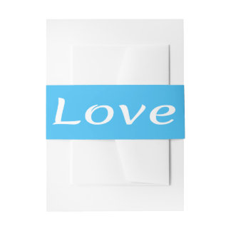 Blue Turquoise & White Love Nautical Wedding Invitation Belly Band
