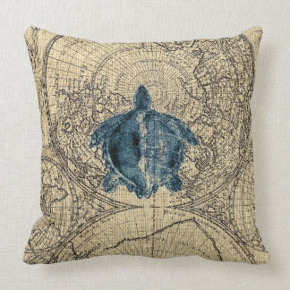 Blue Turtle Illustration Map Coastal Honey Color Cushion