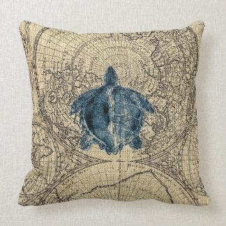 Blue Turtle Illustration Map Coastal Honey Color Cushion