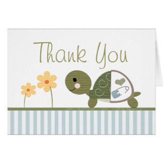 BLUE Turtle in Diapers Baby Shower Thank You Note Card