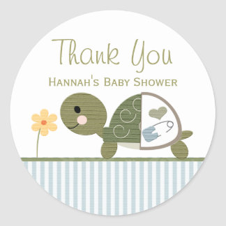 BLUE Turtle in Diapers Baby Shower Thank You Round Sticker