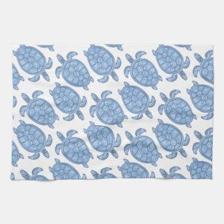 Blue Turtle Print Tea Towel