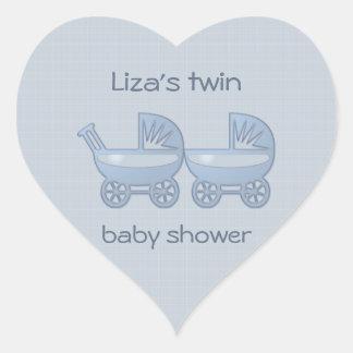 blue twin baby buggy heart sticker