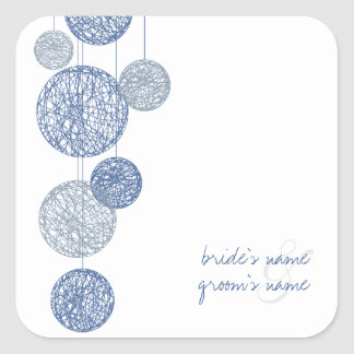 Blue Twine Globes Wedding Sticker