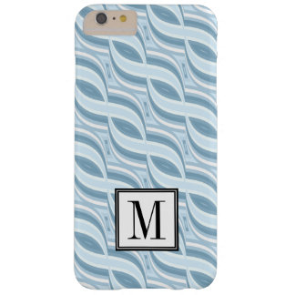 Blue Twist Pattern Initial Monogram Barely There iPhone 6 Plus Case