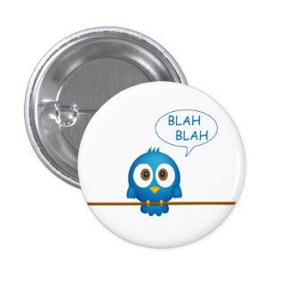 Blue twitter bird cartoon 3 cm round badge
