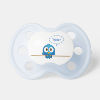 Blue twitter bird cartoon baby dummy