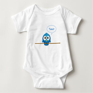 Blue twitter bird cartoon baby shirt