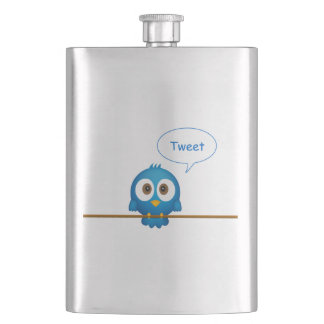 Blue twitter bird cartoon hip flask