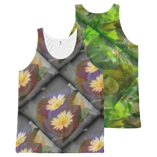 blue two and green three All-Over print tank top