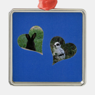 Blue Two Heart Frame Silver-Colored Square Decoration