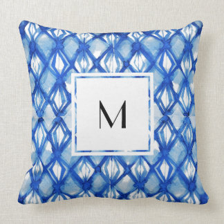 Blue Tye-Dyed Casual Pillow with Monogram