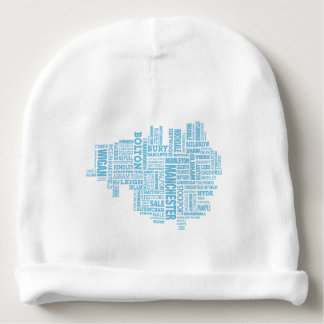 Blue Type map of Greater Manchester Baby Beanie