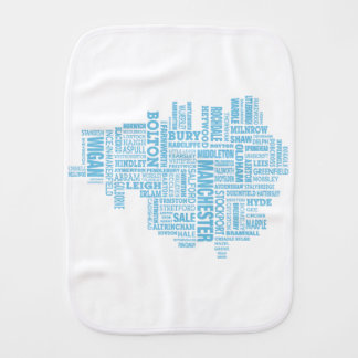Blue Type map of Greater Manchester Burp Cloth