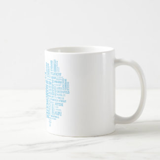 Blue Type map of Greater Manchester Coffee Mug