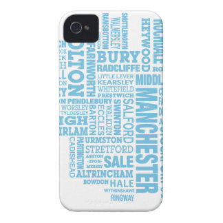 Blue Type map of Greater Manchester iPhone 4 Case-Mate Case