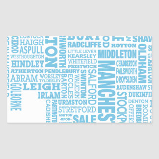 Blue Type map of Greater Manchester Rectangular Sticker