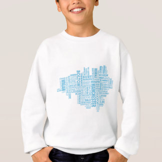 Blue Type map of Greater Manchester Sweatshirt