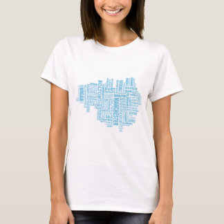 Blue Type map of Greater Manchester T-Shirt