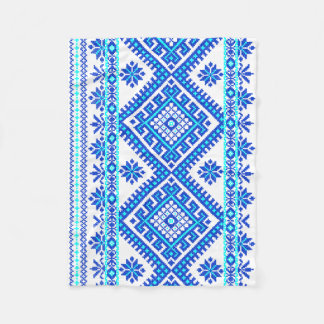 Blue Ukrainian Cross Stitch Pattern Baby Blanket