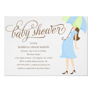Blue Umbrella | Baby Shower Invite