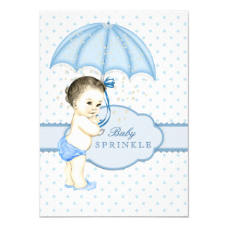 Blue Umbrella Boy Sprinkle Baby Shower Card