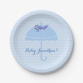 Blue Umbrella Chevrons Baby Shower Paper Plate