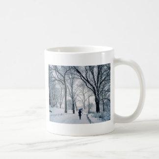 Blue Umbrella In A White Wonderland Coffee Mug