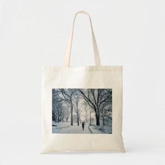 Blue Umbrella In A White Wonderland Tote Bag