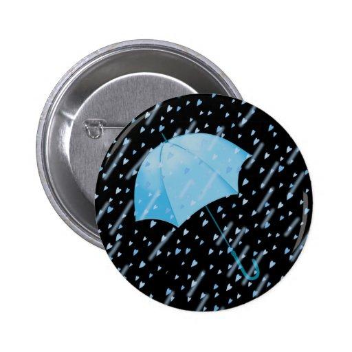 BLUE UMBRELLA SHOWERS OF LOVE by SHARON SHARPE 6 Cm Round Badge