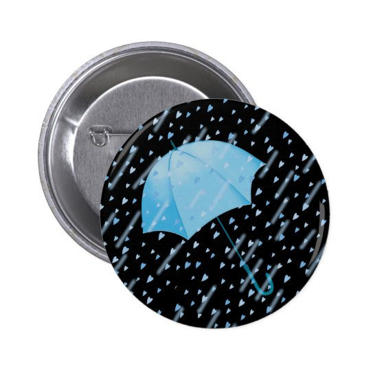 BLUE UMBRELLA SHOWERS OF LOVE by SHARON SHARPE 6 Cm Round Badge