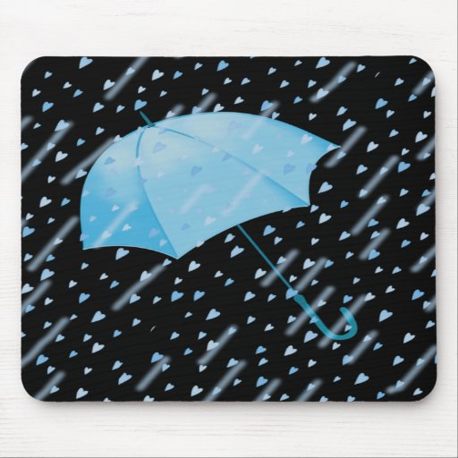 BLUE UMBRELLA SHOWERS OF LOVE by SHARON SHARPE Mouse Mats