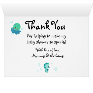 Blue under the sea baby shower thank you cards! card