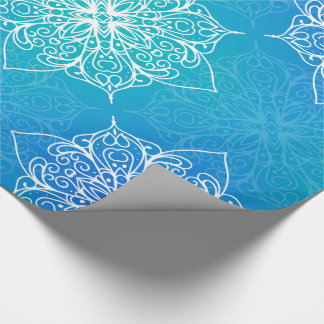Blue Underwater Mandala Pattern Wrapping Paper