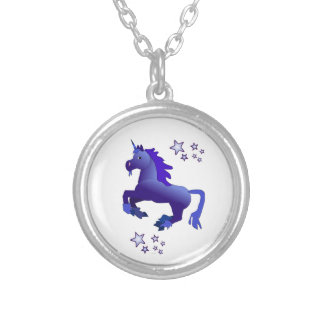 Blue Unicorn and Stars Necklace