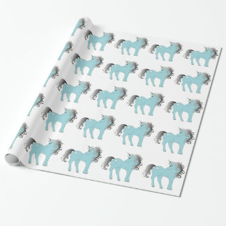 Blue Unicorn Fairy Tale Pony Fantasy Wrapping Paper