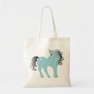 Blue unicorn fantasy tote bag