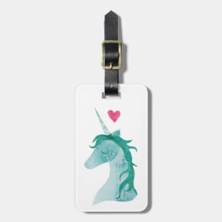Blue Unicorn Magic with Heart Luggage Tag