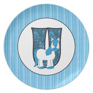"""Blue Unicorn Monogrammed """"U"""" Kid's Plate"""