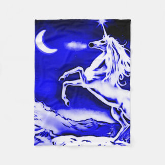 Blue Unicorn Night Airbrush Art Fleece Blanket