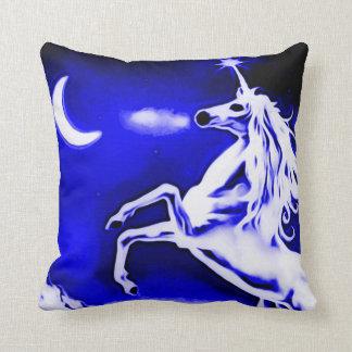 Blue Unicorn Night Airbrush Art Throw Pillow