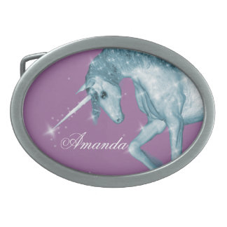 Blue Unicorn Sparkles Oval Belt Buckles